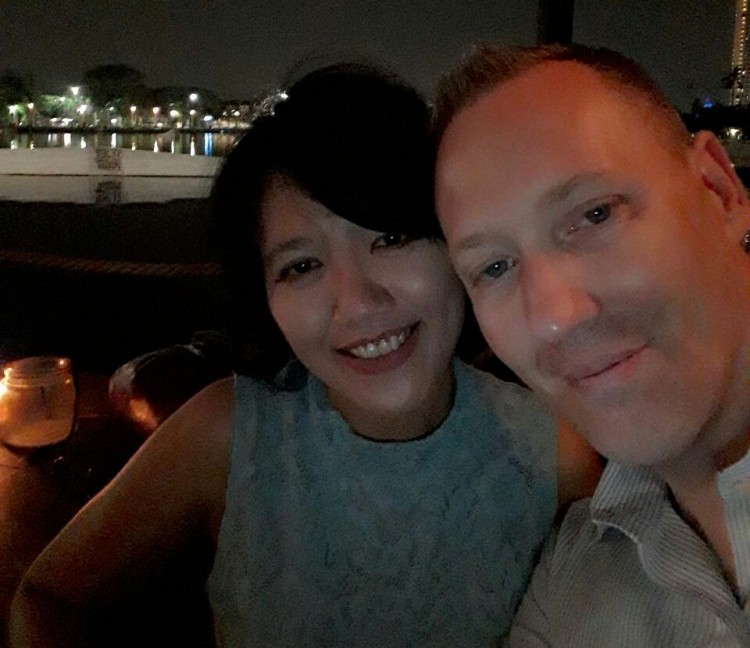 My Wife and I at a restaurant in Jakarta, Indonesia